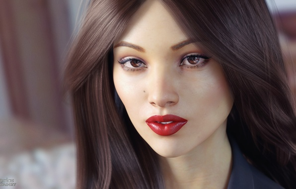 Picture look, girl, face, rendering, hair, lipstick, brown eyes