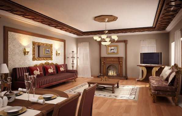 Picture design, style, table, room, sofa, furniture, interior, picture, mirror, fireplace