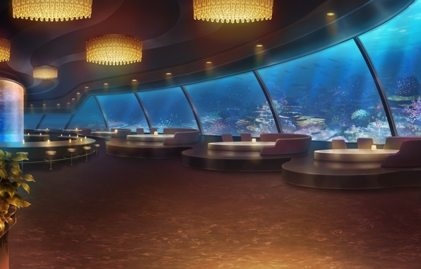 Picture design, style, interior, restaurant, the hotel, under water, the room, lounge zone