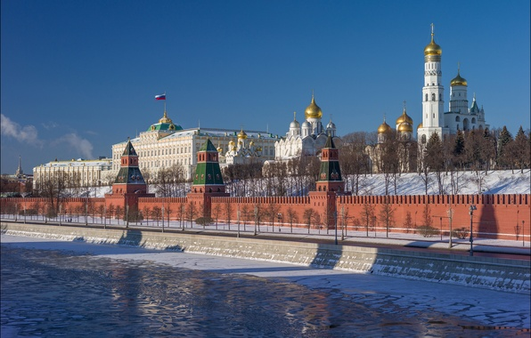 Picture winter, river, Moscow, tower, Russia, promenade, temples, The Moscow river, The Cathedral of the Annunciation, …