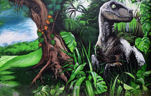 Picture nature, wall, graffiti, dinosaur, Graffiti
