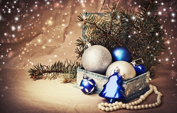 Picture winter, balls, branches, box, toys, spruce, New Year, Christmas, beads, tree, the scenery, white, Christmas, …