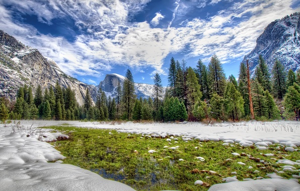 Picture winter, forest, the sky, clouds, snow, trees, mountains, CA, USA, Yosemite National Park