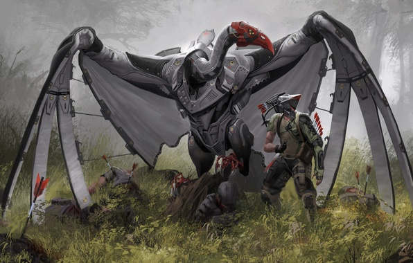 Picture bird, blood, people, robot, wings, art, knife, Griffin, corpses, giant, Robert Chew