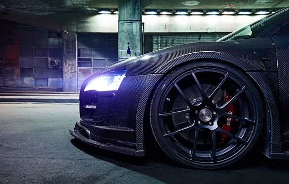 Picture Audi, Light, Glow, Night, Tuning, Brake, Carbon Fiber, Wheel