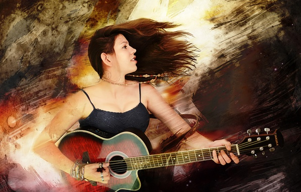 Picture style, music, guitar, Irma Montemayor