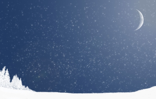 Picture winter, snow, the moon, minimalism
