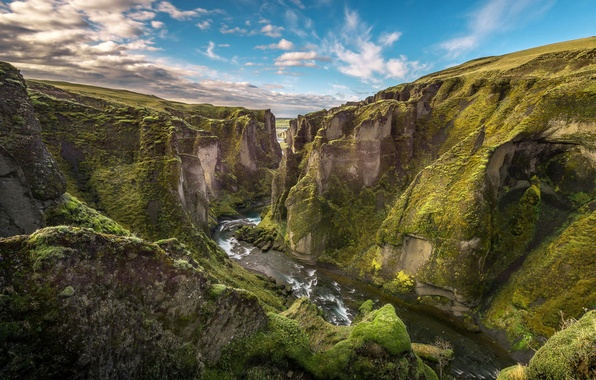 Picture the sky, clouds, mountains, river, canyon, gorge