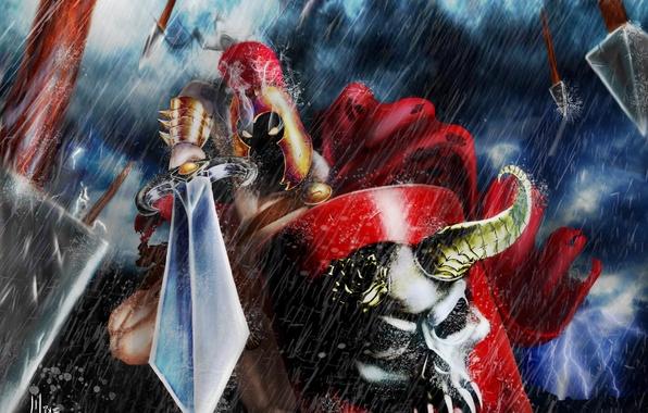 Picture rain, skull, sword, armor, Warrior, burning eyes