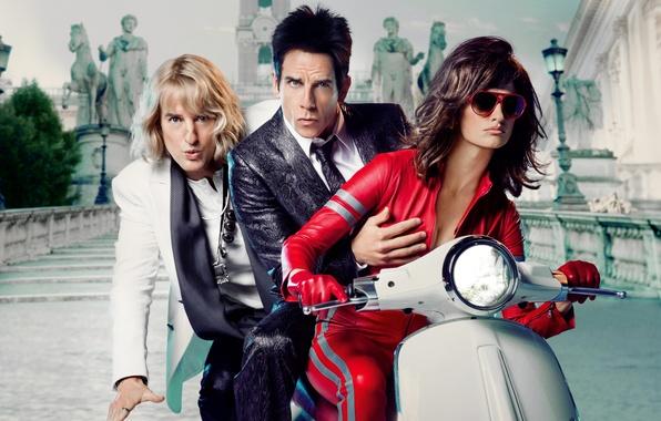 Picture the city, background, glasses, lights, poster, scooter, three, Penelope Cruz, Ben Stiller, sculpture, costumes, Penelope …