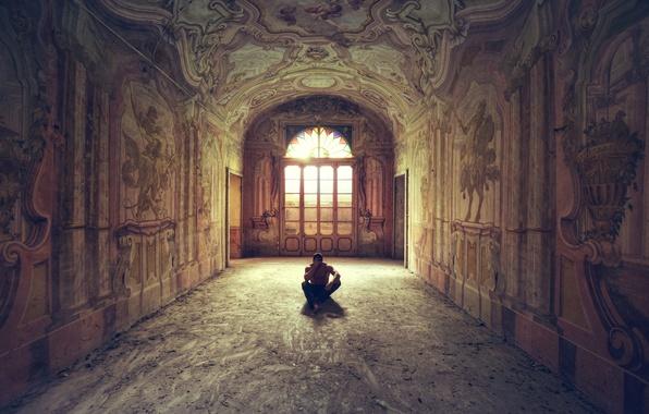 Picture Windows, shadow, door, corridor, male, sunlight