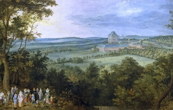 Picture field, trees, landscape, people, castle, picture, Jan Brueghel the elder, The Hunt Of The Grand …