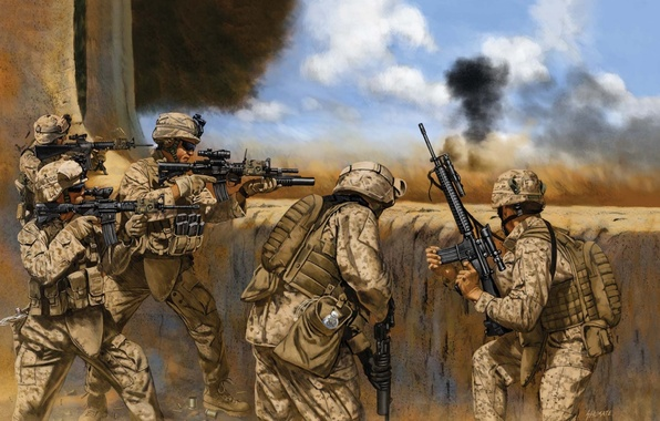 Picture weapons, figure, battle, art, soldiers, USA, rifle, equipment, army, Iraq, M-16