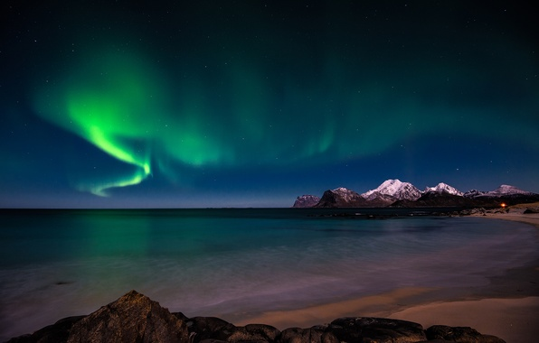 Picture sky, coast, night, snow, stars, arctic, aurora borealis