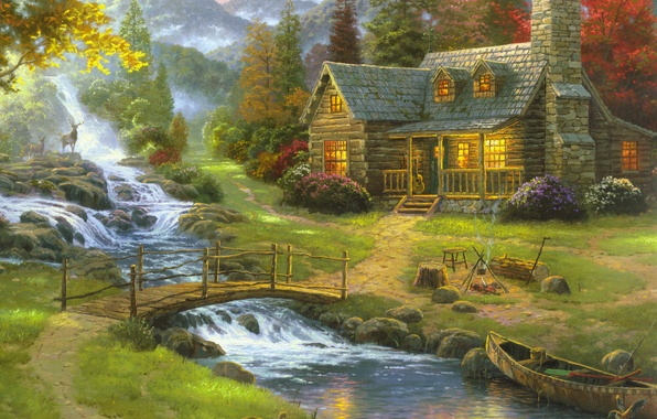 Picture forest, nature, fog, house, river, boat, figure, guitar, picture, art, drawings, pictures, painting, deer, the …