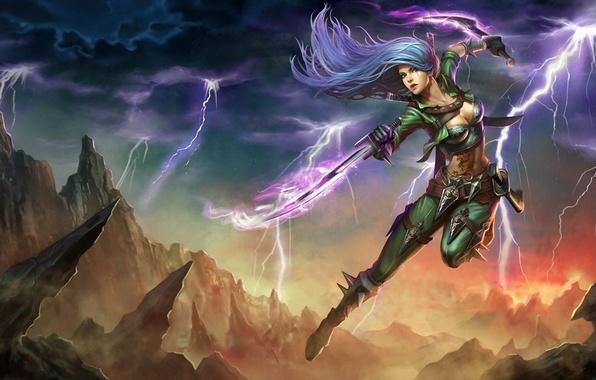 Picture girl, weapons, rocks, jump, zipper, art, swords, Katarina, League Of Legends