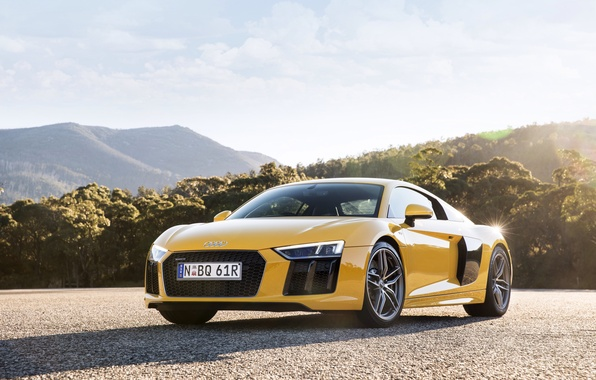 Picture the sky, yellow, Audi, Audi, car, V10