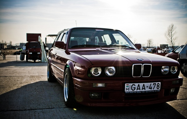 Picture lights, tuning, BMW, exhibition, car, old, dark red, тouring, power, E30 M3, evil