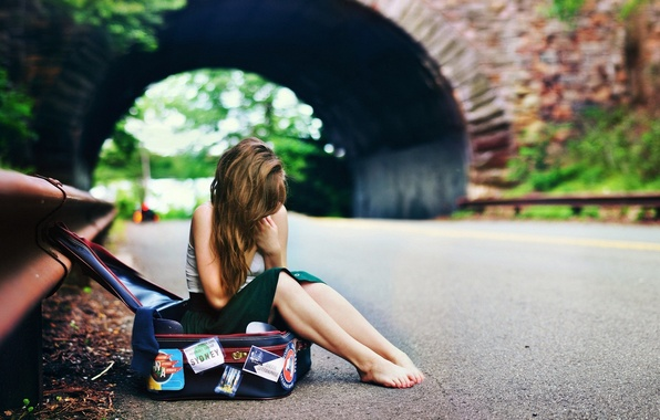 Picture road, girl, bridge, hair, girl, bag, waiting, bridge, barefoot, way, hair, bag, barefoot, waiting
