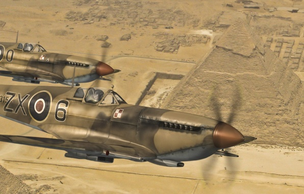 Picture flight, the plane, desert, fighter, art, pair, Egypt, English, Spitfire, scout, interceptor, Supermarine, WW2., over, …