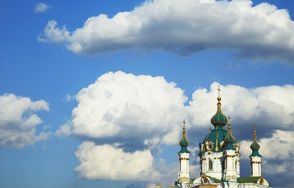 Picture the sky, clouds, the city, cross, the dome, Kiev, St. Andrew's Church