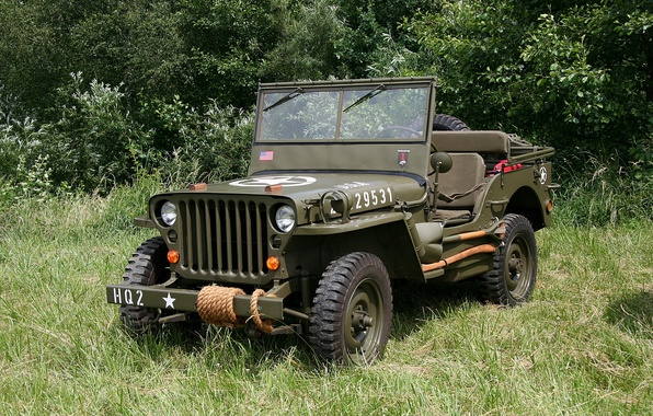 """Picture easy, car, American, Jeep, WW2, four-wheel drive, intelligence, """"Willis-MV"""", (4x4), included in the story called …"""