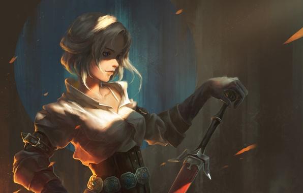 Wallpaper girl, sword, art, The Witcher 3: Wild Hunt, witcher 3, The Witcher 3: Wild Hunt, ...