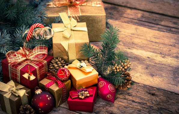 Picture decoration, toys, tree, gifts, New year, bow, Christmas, winter, box, New Year, bow, gifts
