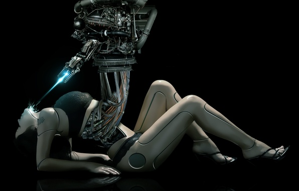 Picture robot, cyborg, tablet, female body