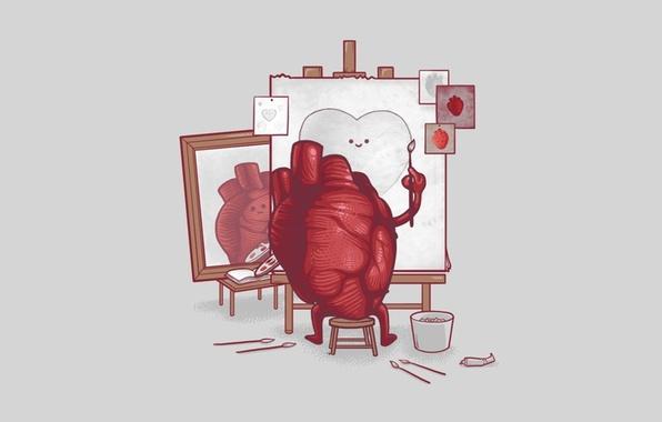 Picture paint, heart, artist, brush, canvas