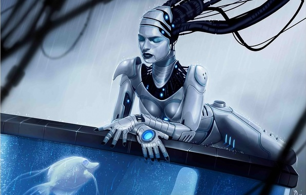 Picture water, girl, rain, wire, robot, aquarium, fish, fish, art, Android