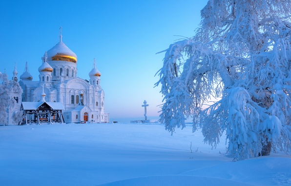 Picture winter, snow, Russia, Ural, The Belogorsky monastery