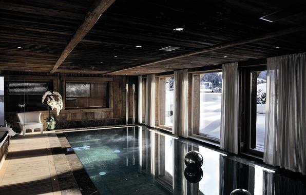 Photo wallpaper winter, snow, design, house, interior, pool
