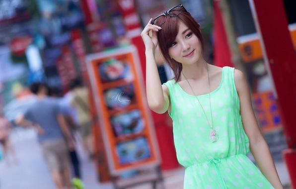 Picture Girl, The city, Look, Glasses, Smile, Street, Asian, Girl, Hair, Dress, Little, City, dress, eyes, …