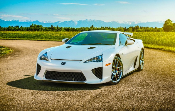 Picture Lexus, Nature, Sky, Front, Sun, White, Road, Supercar, LFA, Spoiler