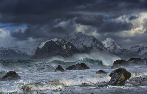 Picture sea, wave, mountains, storm, stones, Norway, Norway, The Lofoten Islands, Lofoten Islands, The Norwegian sea, …