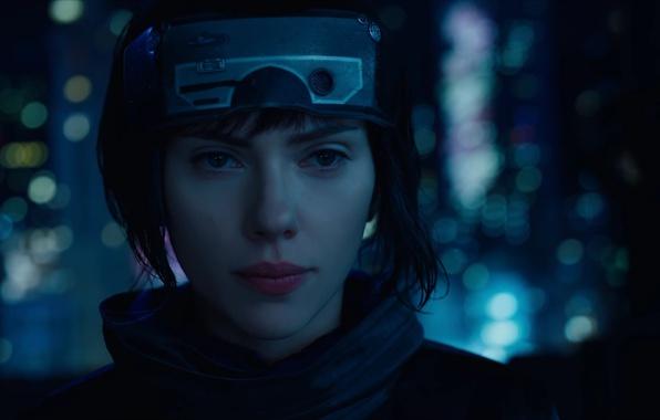 Picture Scarlett Johansson, cinema, wallpaper, robot, green eyes, woman, anime, night, short hair, movie, Ghost in …