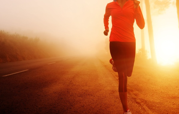 Picture road, girl, the sun, background, movement, widescreen, Wallpaper, sport, morning, running, wallpaper, widescreen, background, full …
