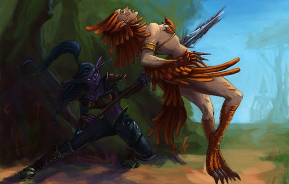 Picture forest, girl, feathers, murder, art, attack, spear, elf, wow, world of warcraft, night elf