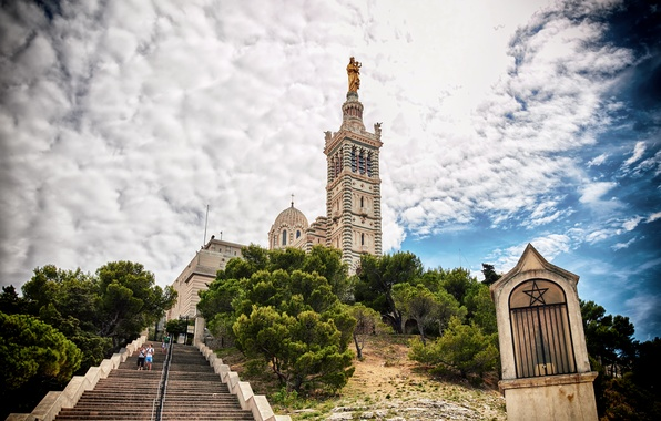Picture the sky, clouds, trees, the rise, France, tower, hill, ladder, Cathedral, steps, cathedral, Marseille, Our …