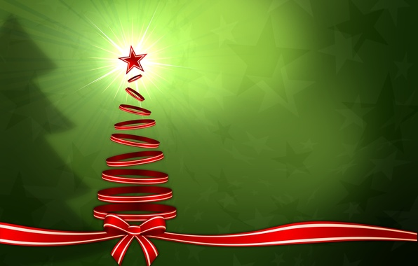 Picture winter, rays, light, holiday, graphics, new year, Christmas, stars, tape, tree, christmas, new year, bow