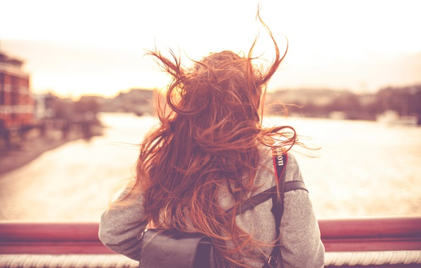 Picture girl, the city, the wind, hair, A windy day in London