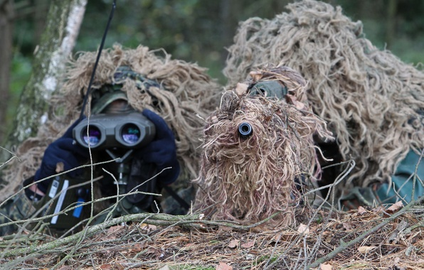 Picture ambush, disguise, sniper, rifle, observation, partner