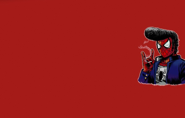 Picture minimalism, web, hairstyle, cigarette, red background, Elvis Presley, spider-man, spider man