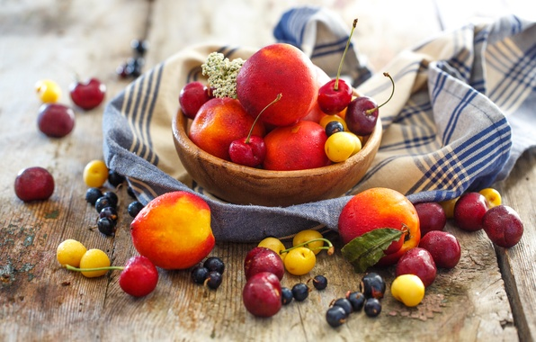 Picture summer, berries, plate, fruit, still life, peaches, currants, cherry, nectarine, Julia Khusainova