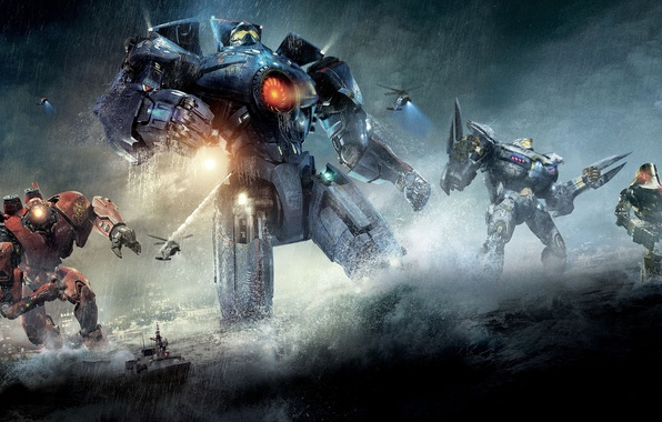 Picture rain, the ocean, ship, helicopters, robots, Pacific Rim, Pacific rim, the Rangers, jaegers