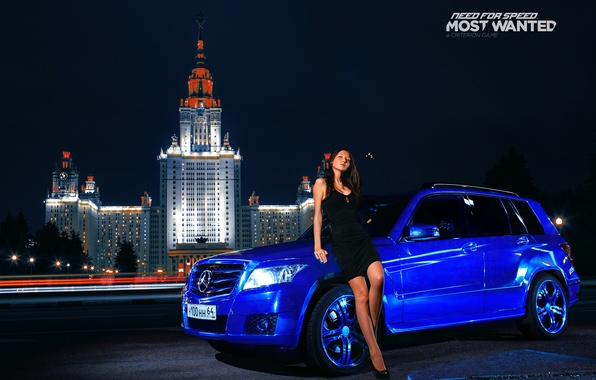 Picture blue, tuning, brunette, mercedes, Mercedes, nfs, GLK, most wanted, smotra