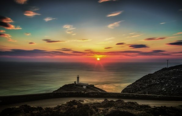 Picture road, the sun, landscape, the ocean, lighthouse, North Wales, North Wales