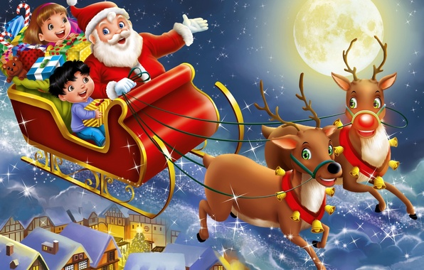Picture night, children, the city, holiday, the moon, toys, art, gifts, Santa Claus, sleigh, deer