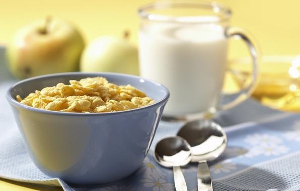 Picture glass, Apple, food, milk, spoon, sweet, cereal, a light Breakfast